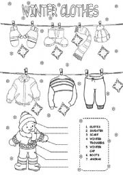 Free Printable Winter Clothes Worksheet