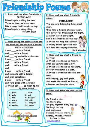 Friendship Poem Worksheet