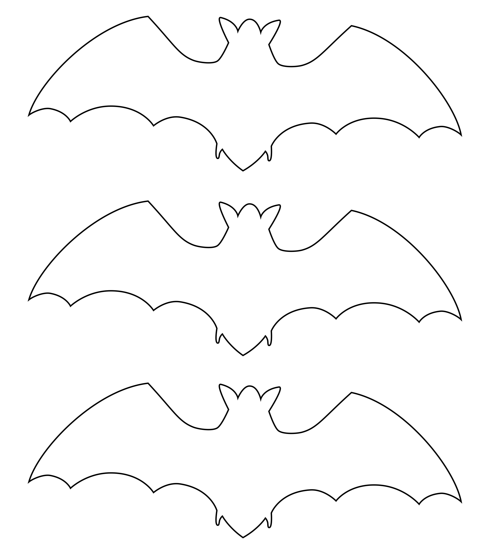 Halloween Bat Stencil Cutouts Printable