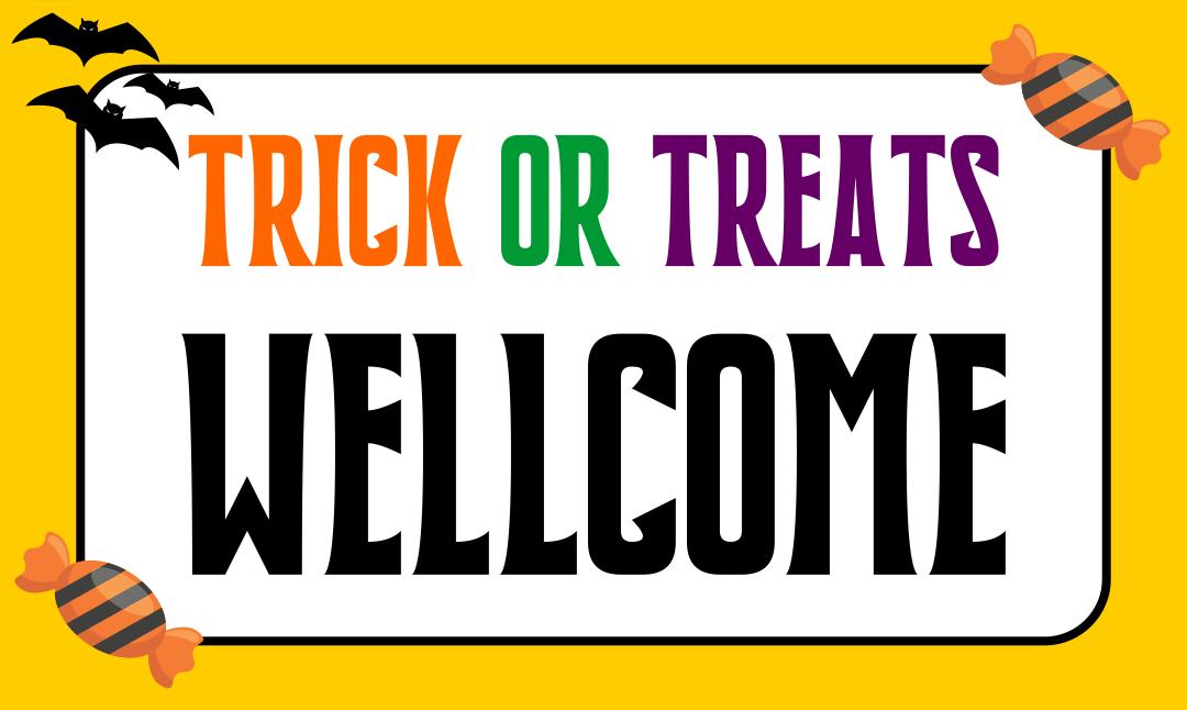 Halloween Trick or Treat Door Signs Printable