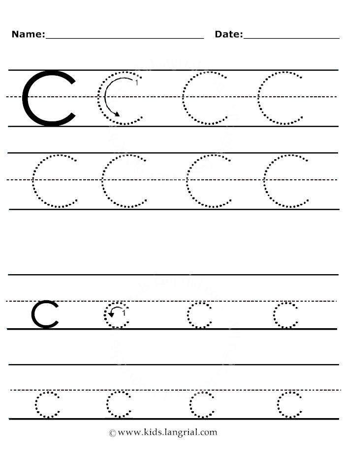 Tracing Letter C - Printable Letter C Tracing Worksheets, Handwriting ...