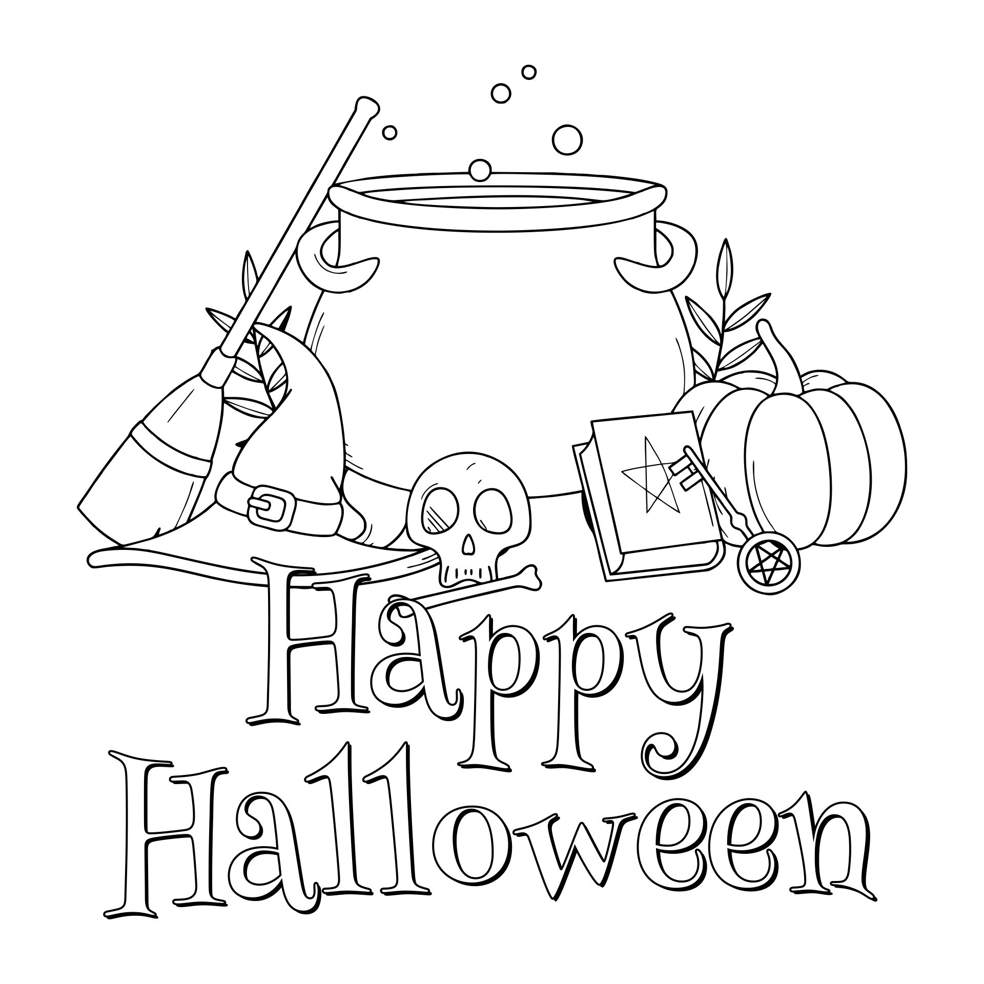 4 Images of Happy Halloween Printable Coloring Pages