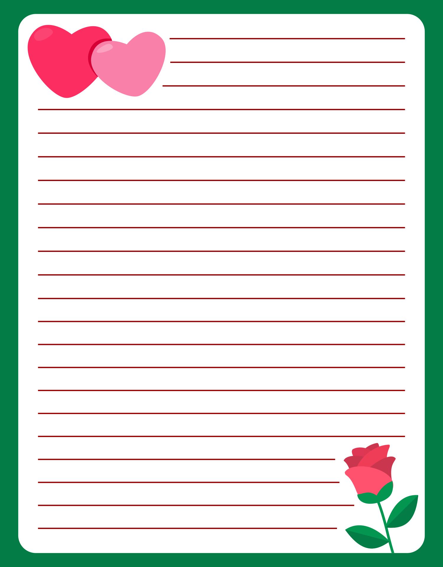 Heart Love Valentine Letter Template