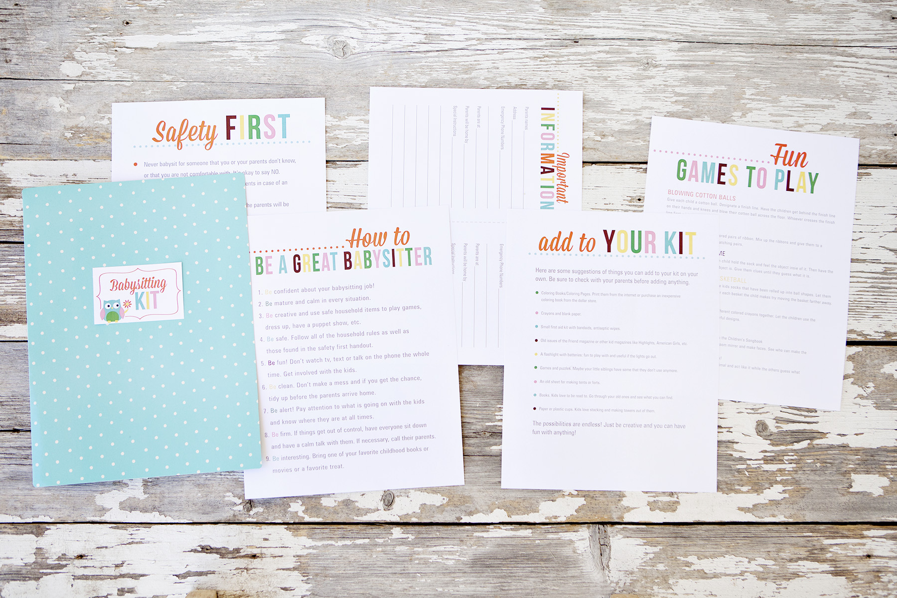 7 Images of Babysitting Kit Printables