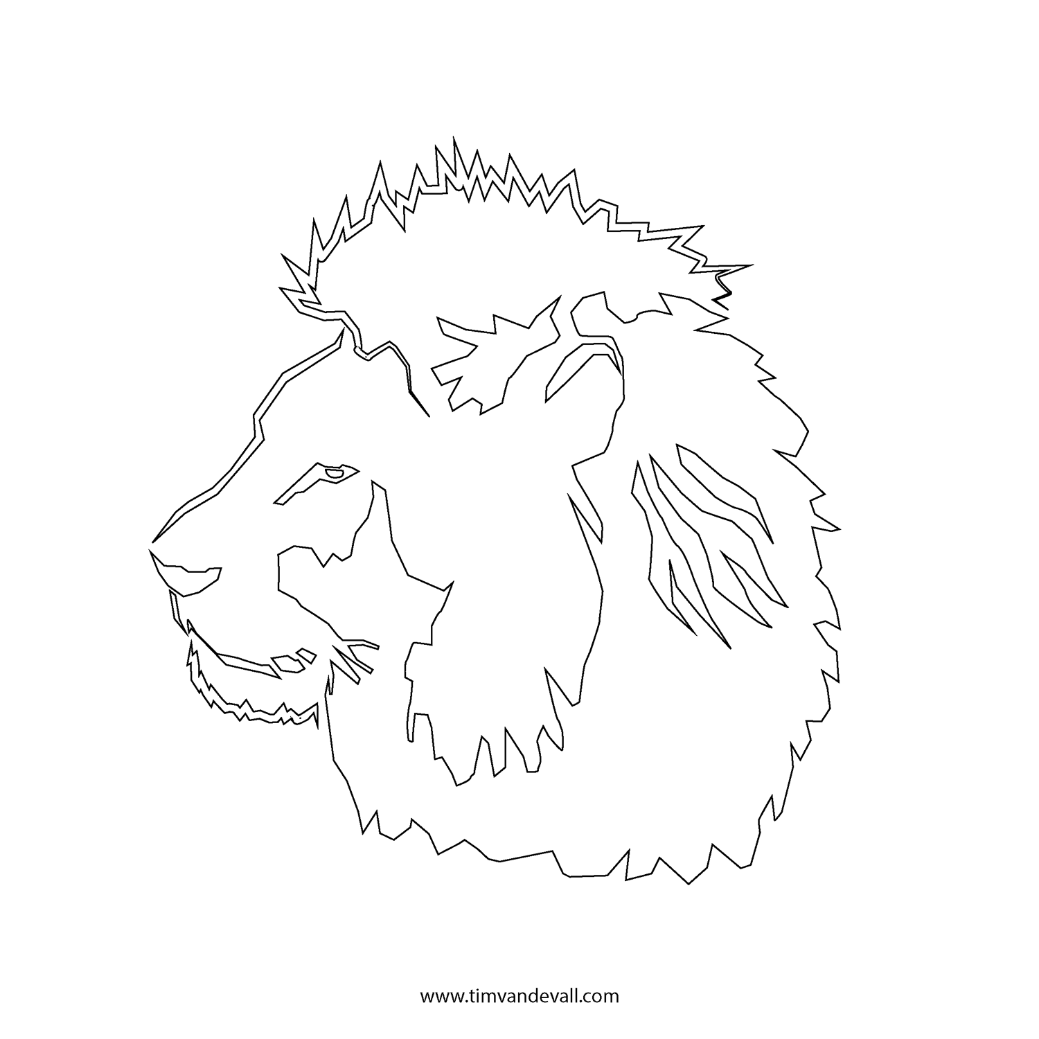 4 Images of Lion Outline Template Printable