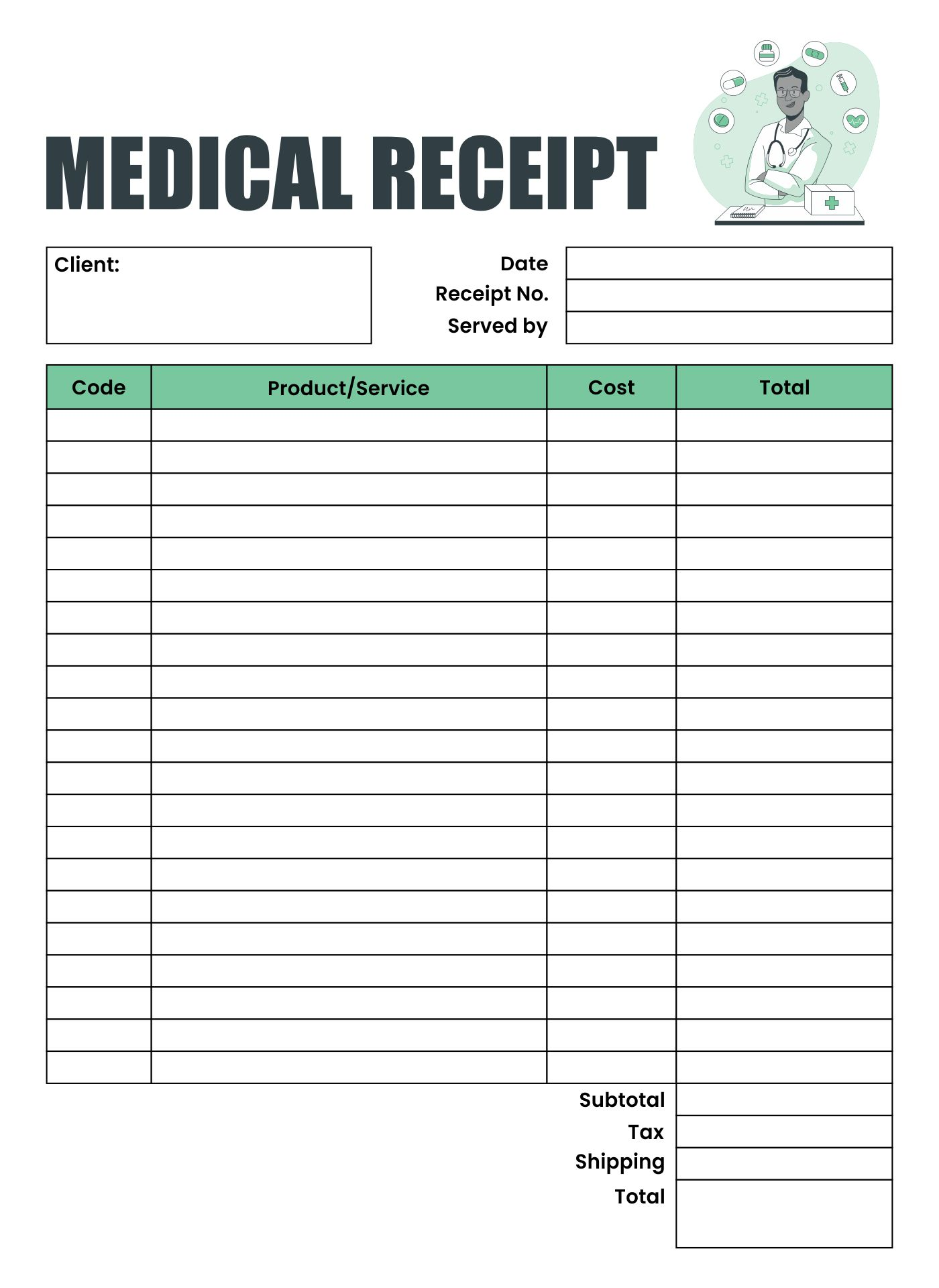 6 Images of Free Printable Medical Receipts