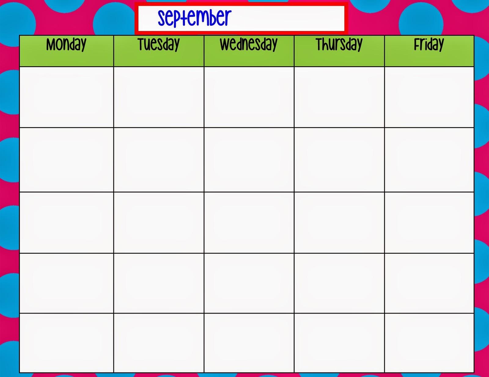 5 Images of Blank Monday Through Friday Printable Calendar