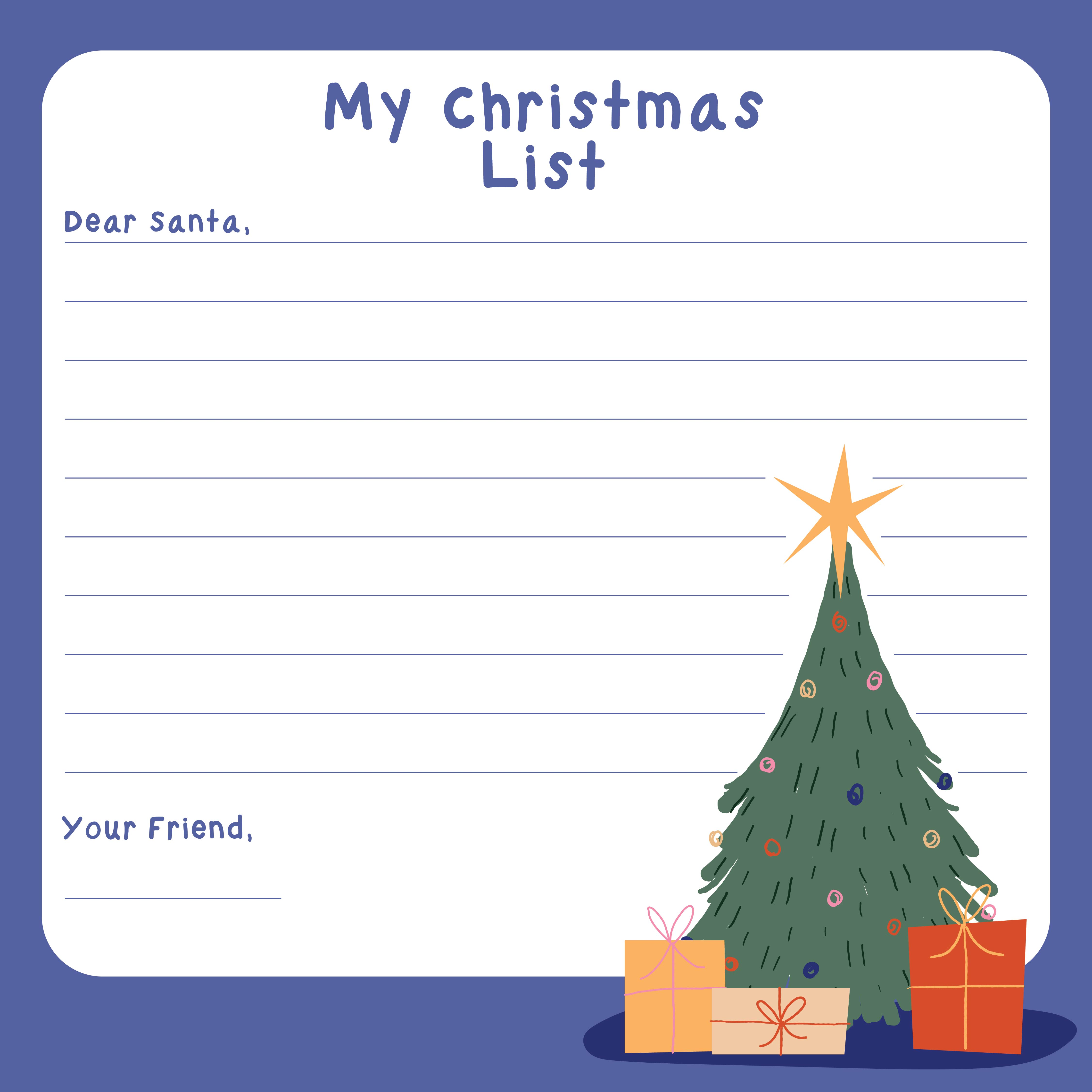 of Printable Christmas List For Santa - Santa Claus Christmas List ...
