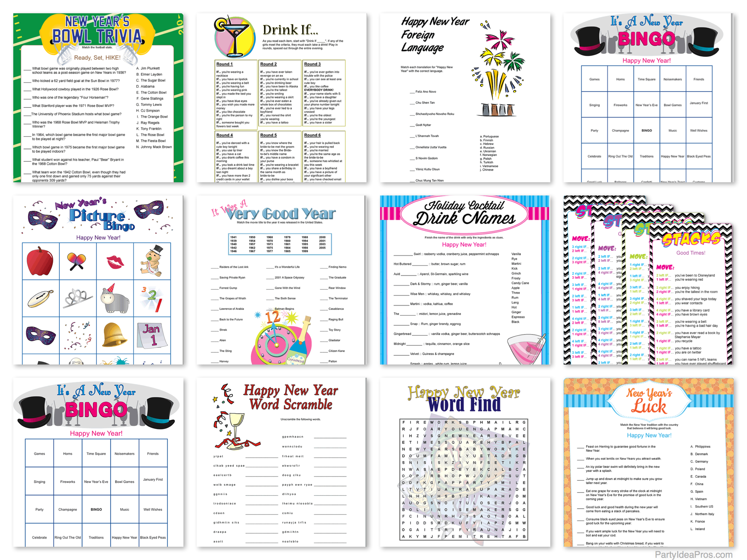 New Year's Printable Party Games