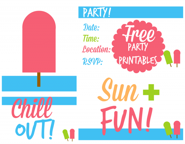 7 Images of Summer Free Printable Blank Party Invitations