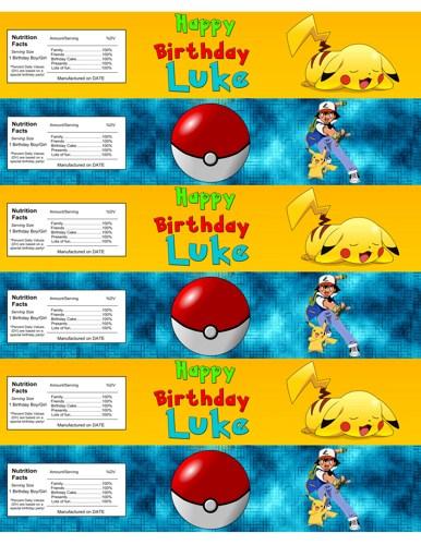 Pokemon Free Printable Water Bottle Labels