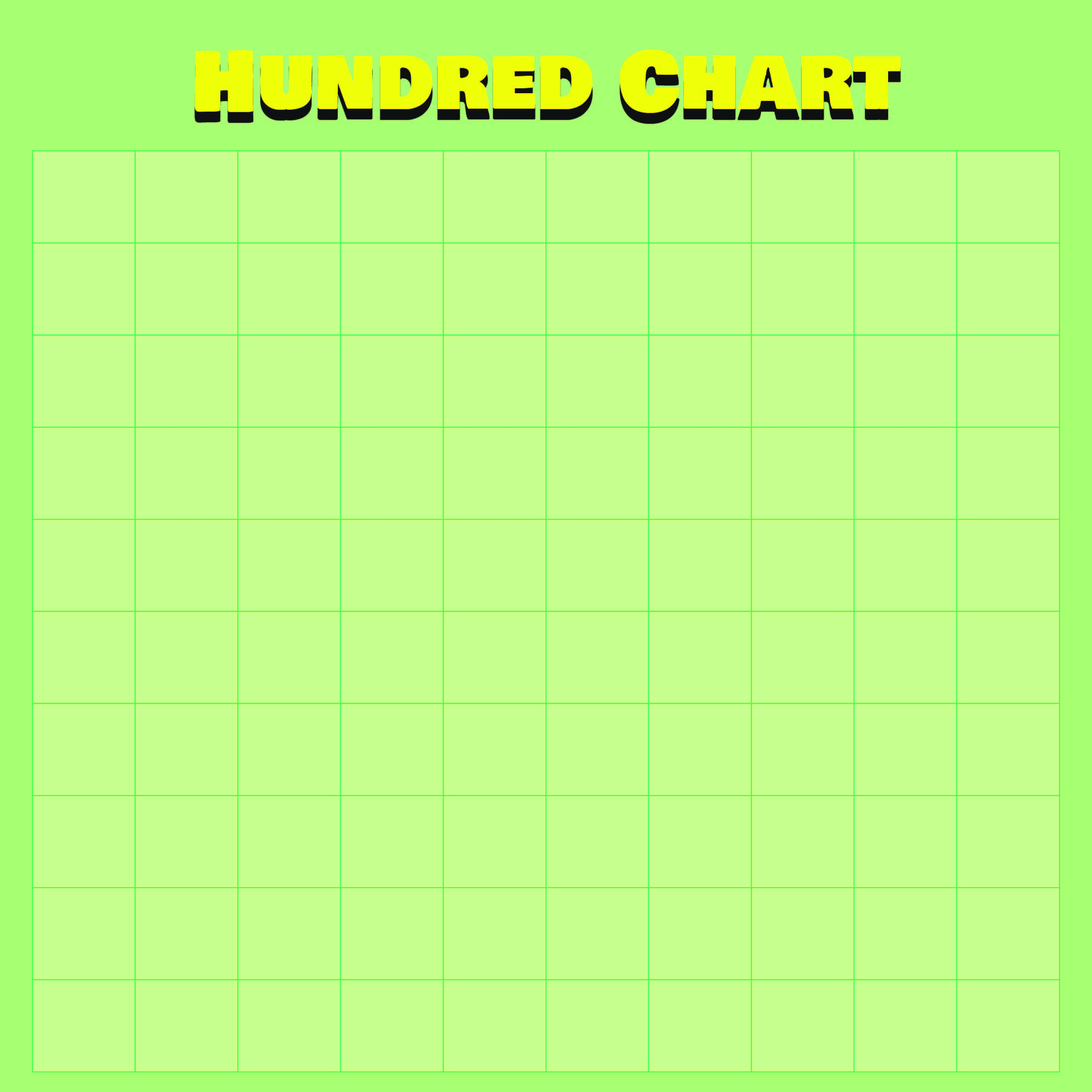 Printable Blank 100 Hundreds Chart