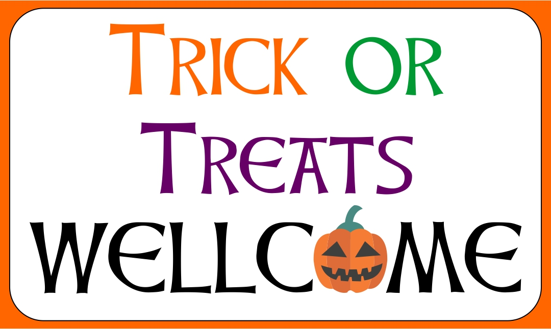 Printable Halloween Trick or Treat WelcomeSign