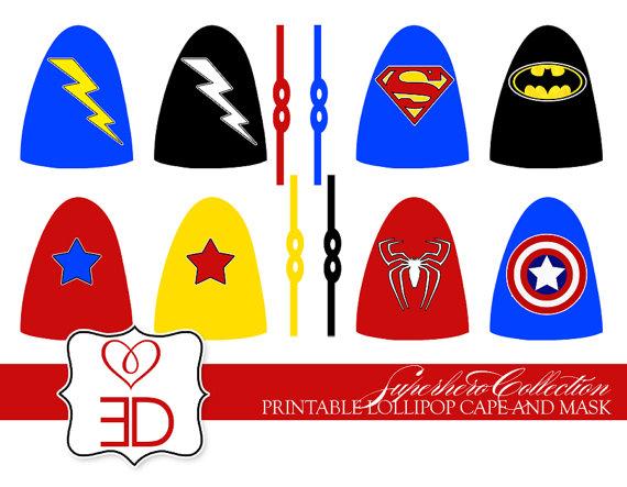 8 Images of Printable Lollipop Superhero Cape Template