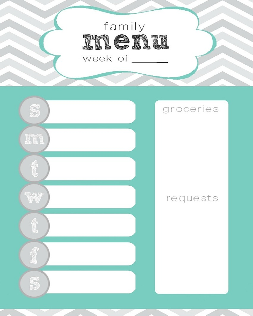 7 Images of Cute Printable Weekly Menu