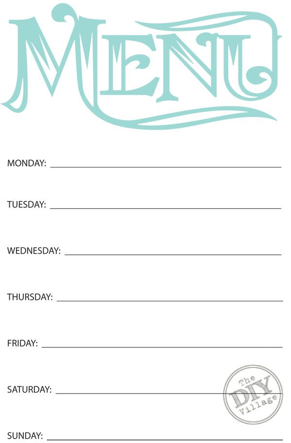 4 Images of Free Printable Monthly Menu Planner