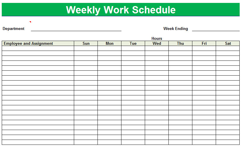 8 Images of Printable Weekly Employee Schedule Sheets