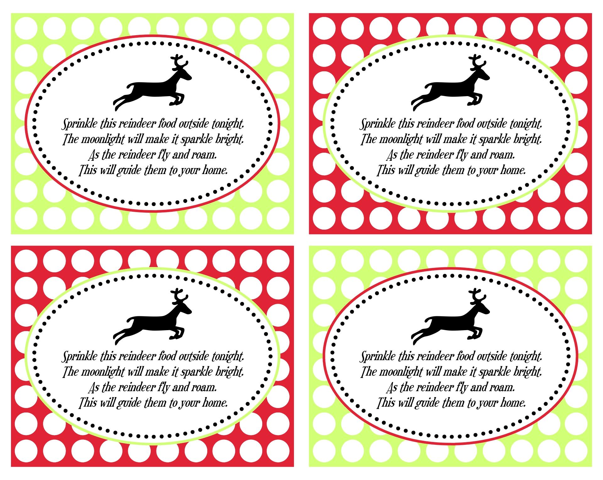 Reindeer Food Printable Tags