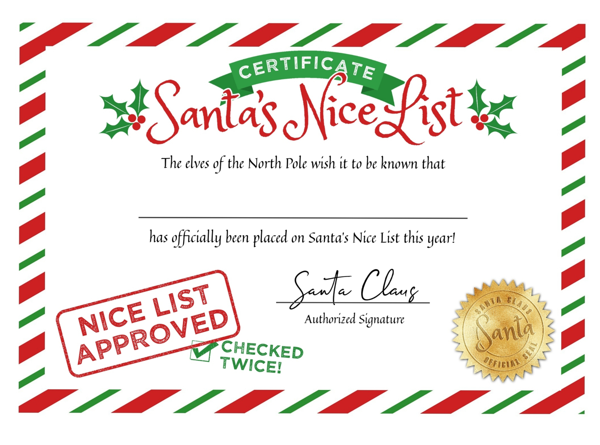 7 best images of blank nice list certificate printable