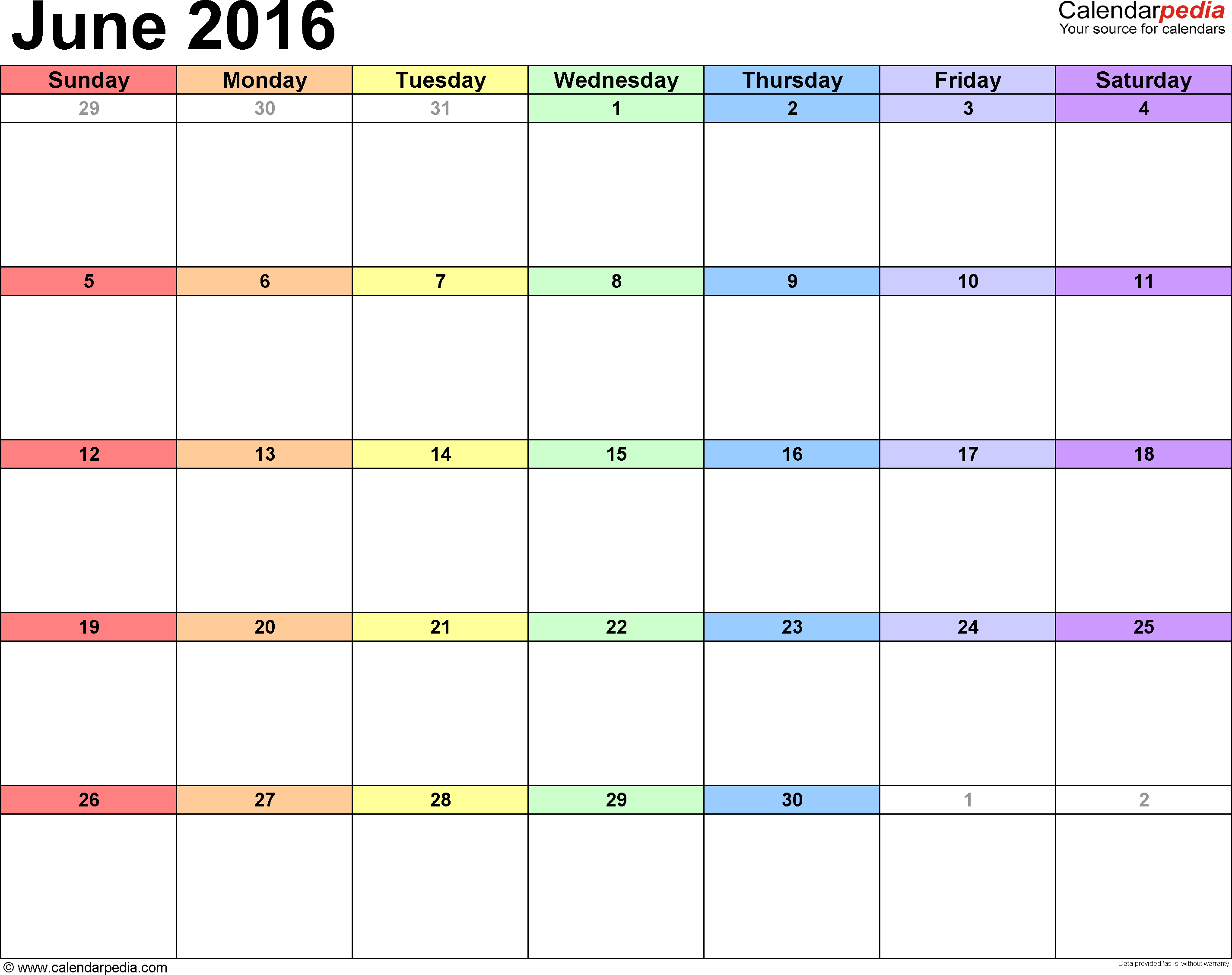 8 Images of June 2016 Printable