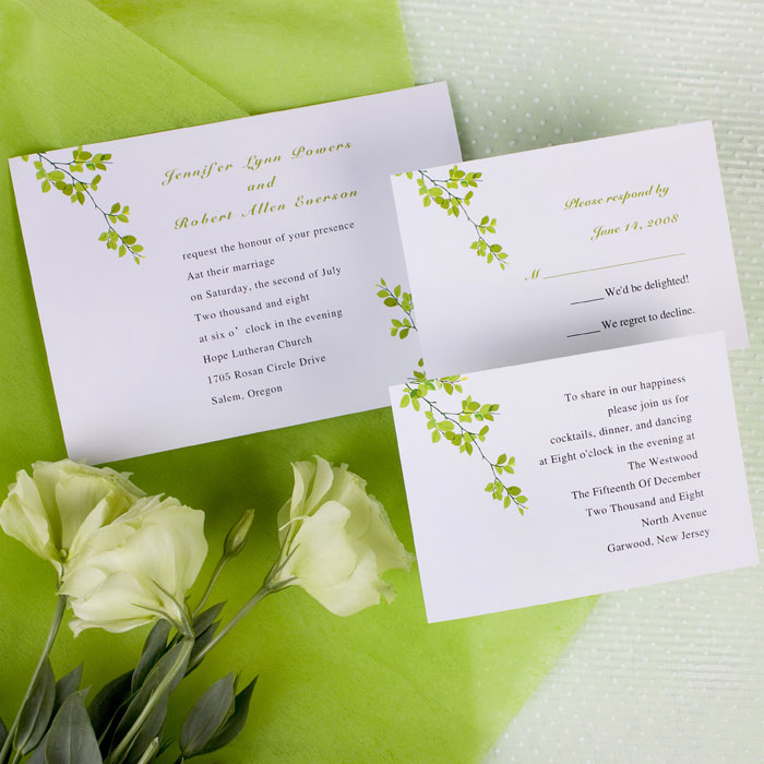 Simple Green Wedding Invitations