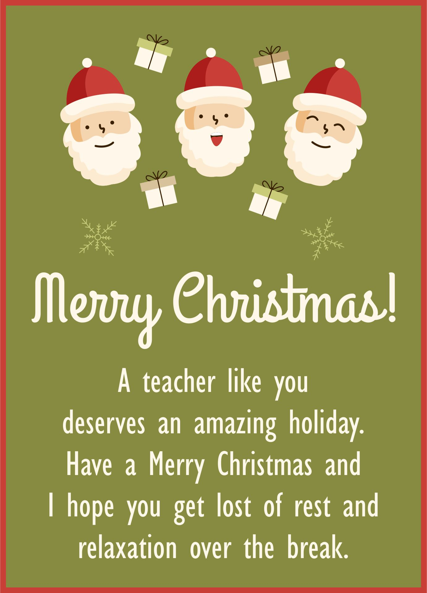 Teacher Christmas Card Messages