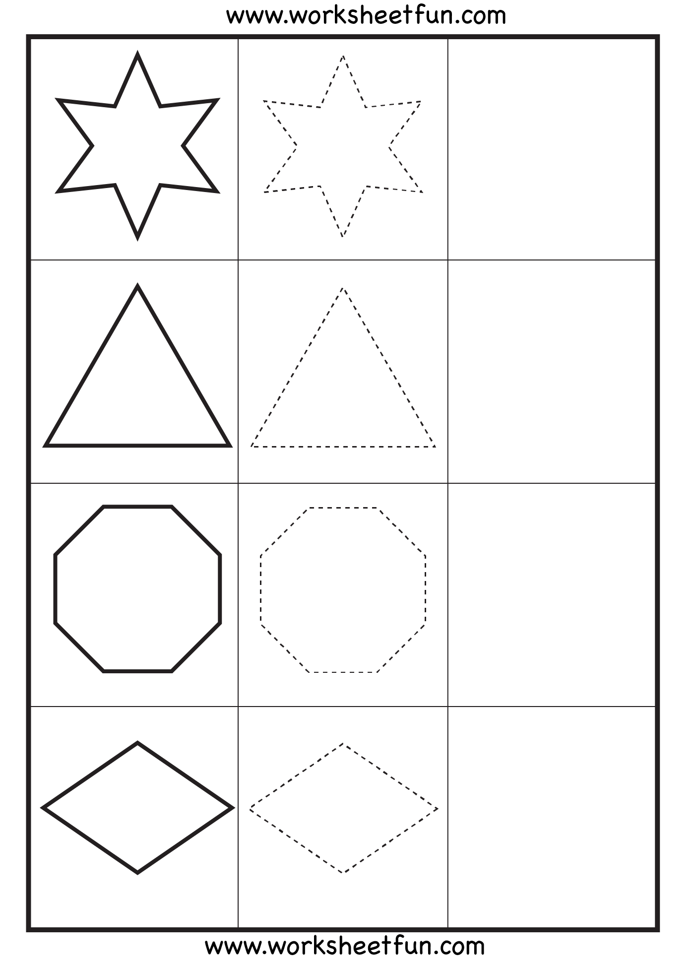 Free printable preschool worksheets tracing shapes