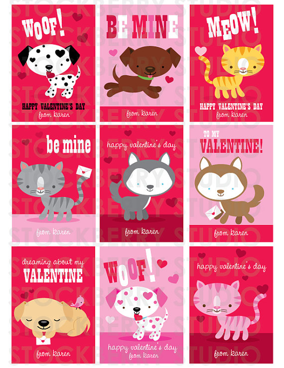 5 Images of Free Printable Valentine Cards Cat