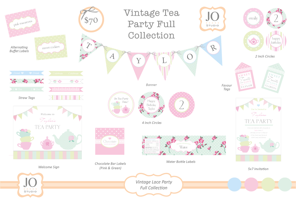 5 Images of Vintage Tea Party Free Printables