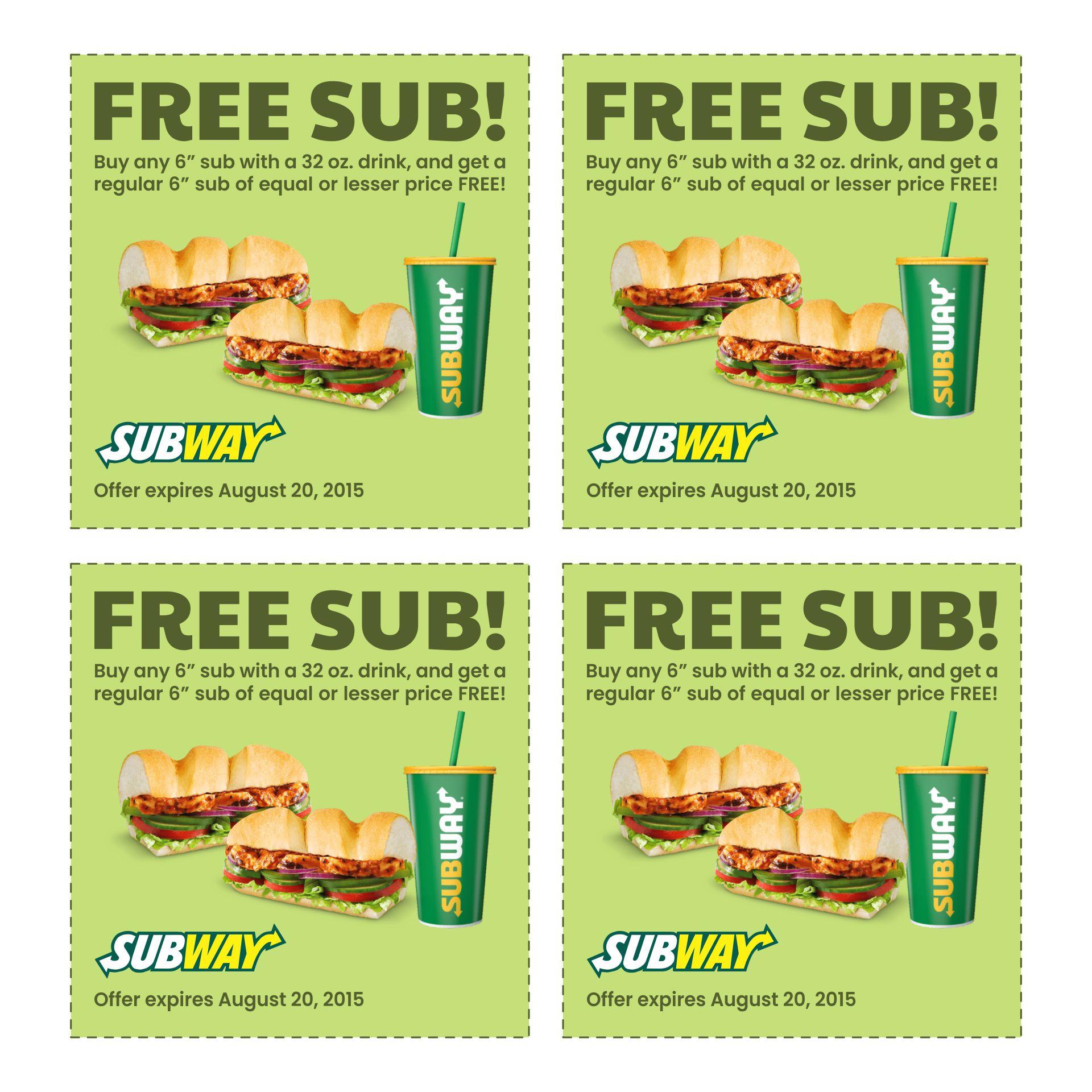 2015 Subway Coupons Printable