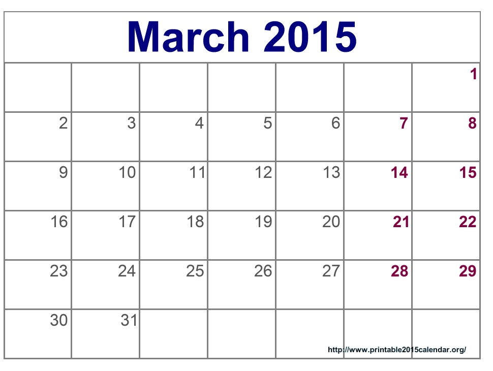 9 Images of Blank March 2015 Calendar Printable