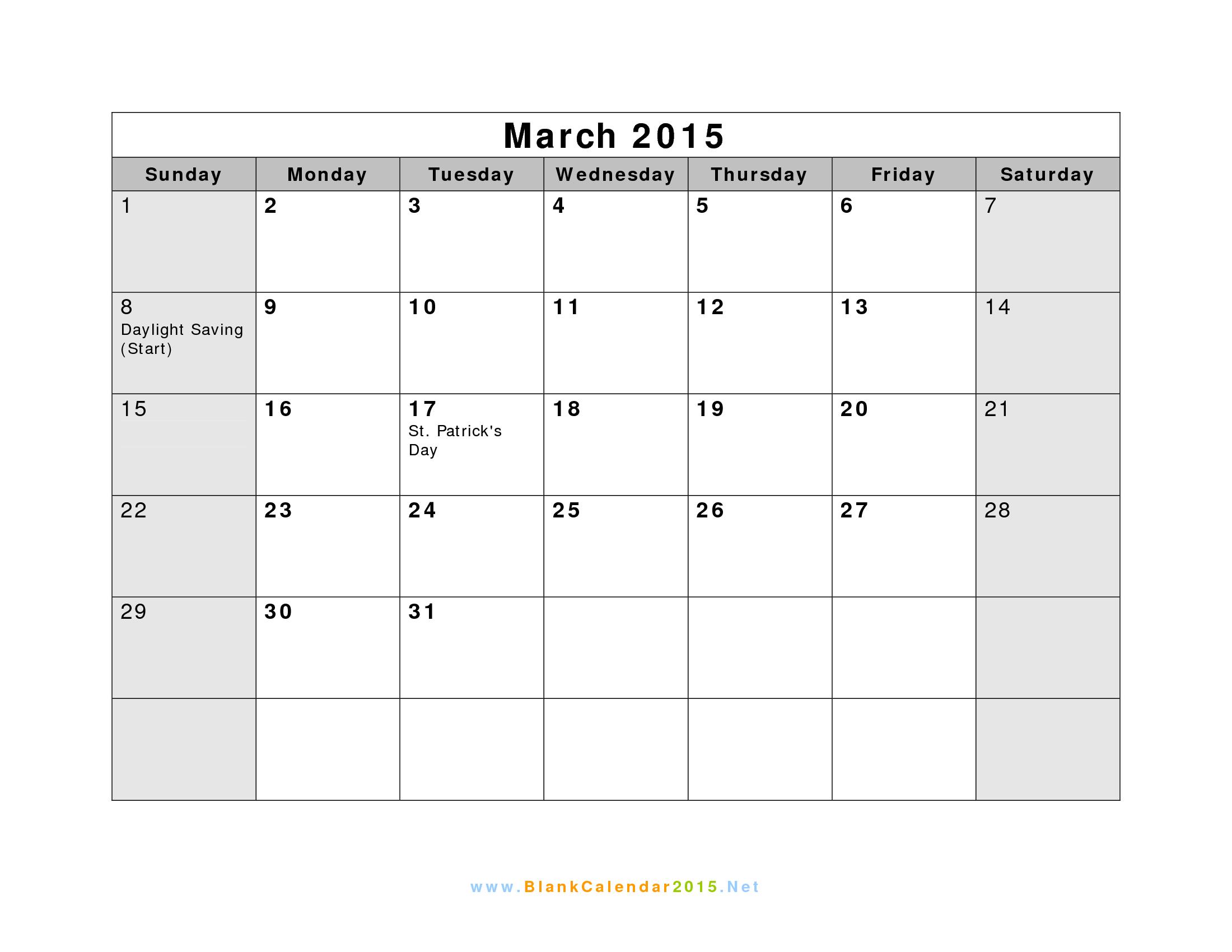Blank March 2015 Calendar Template