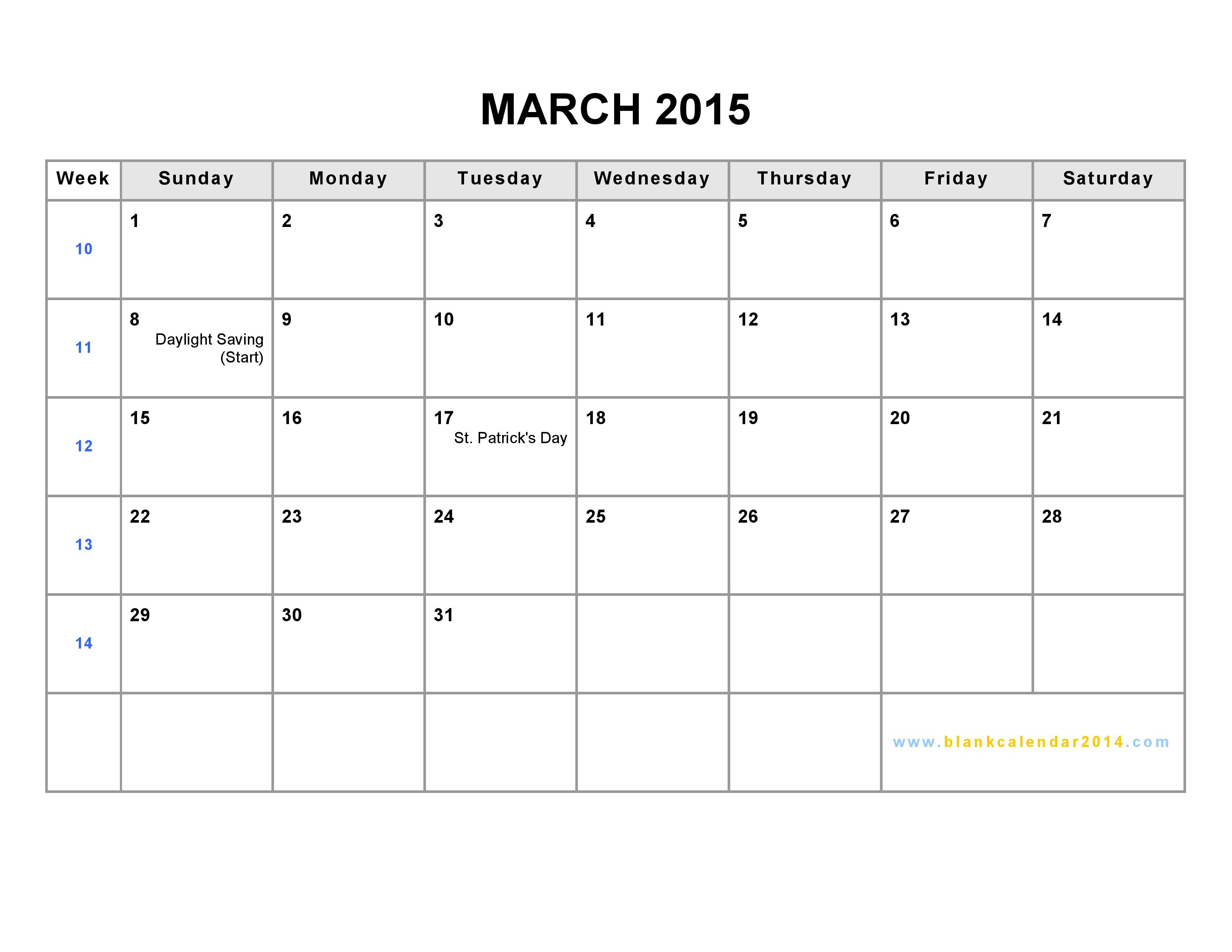 Blank March Calendar 2015 Printable