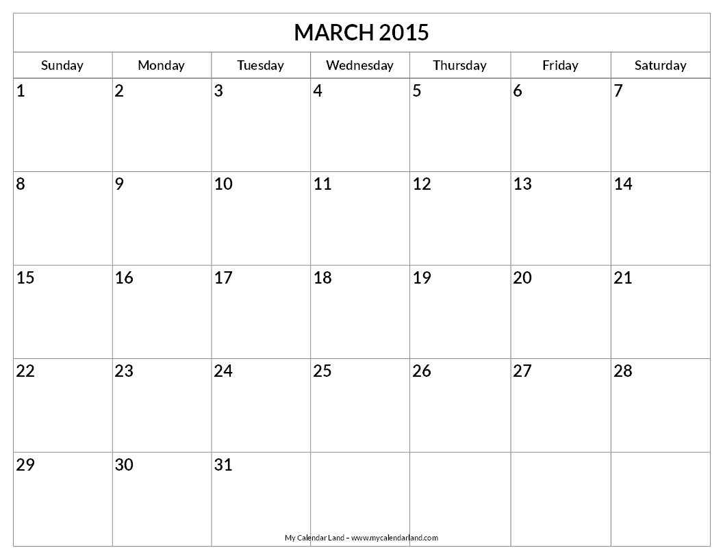 Blank Monthly Calendar March 2015
