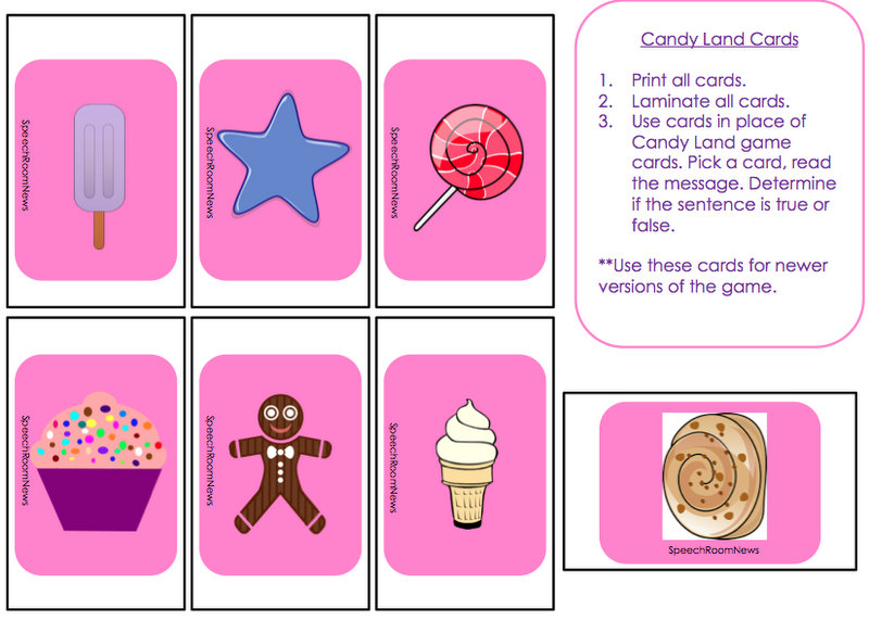 6 Images of Candyland Game Cards Printable