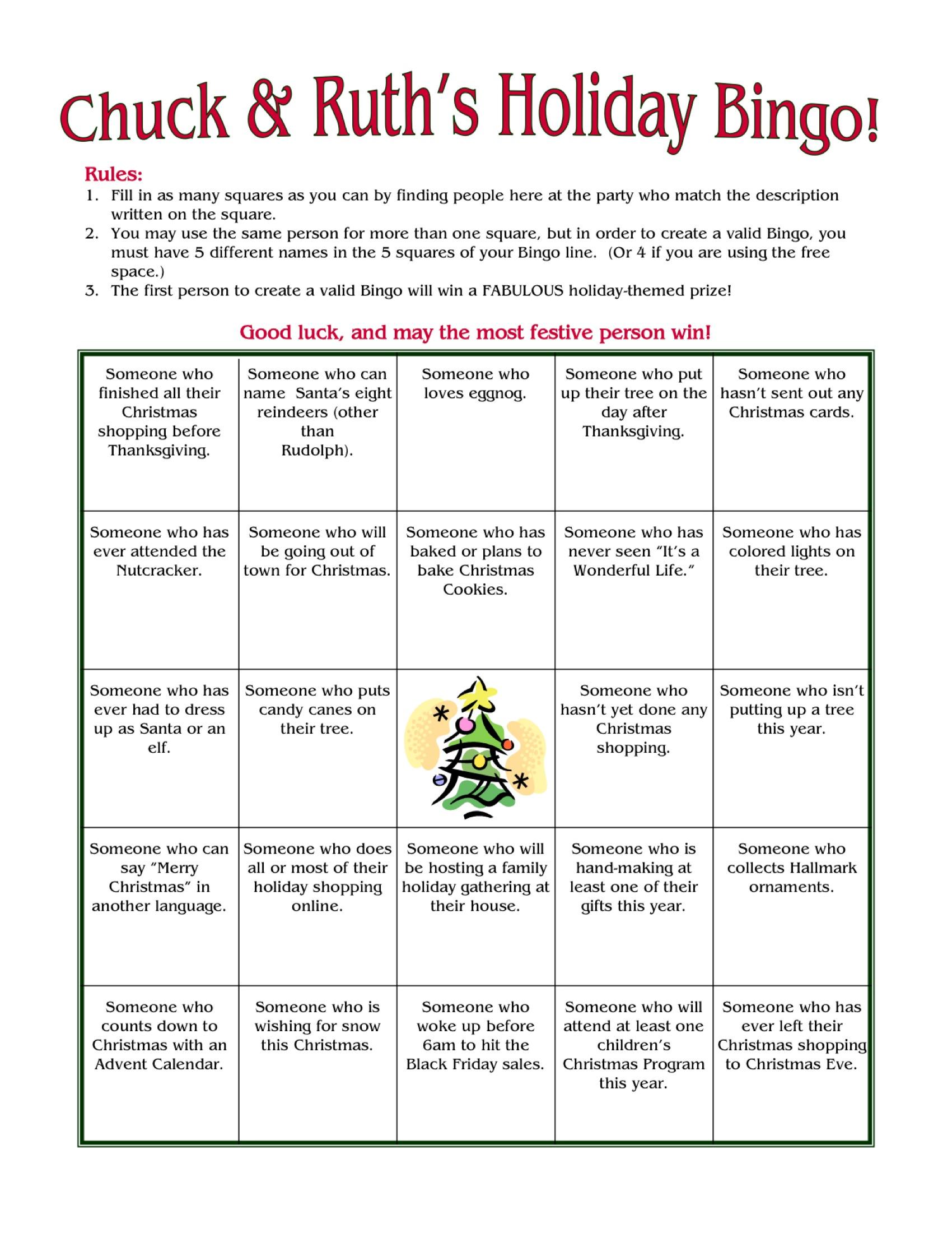 Christmas People Bingo Printable