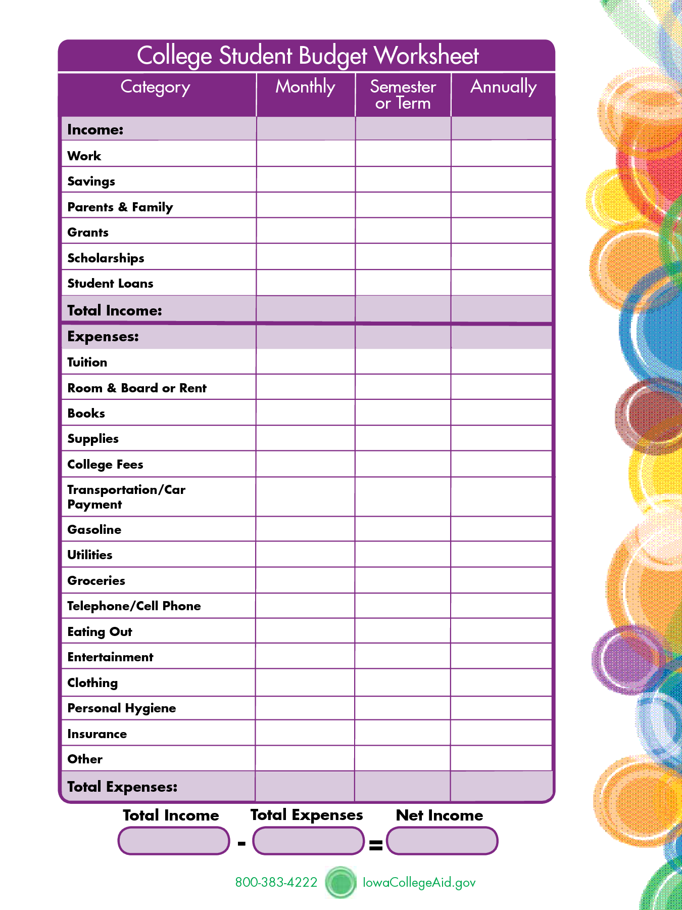 Printables Budgeting Worksheets For Students budget worksheet for college students davezan plustheapp