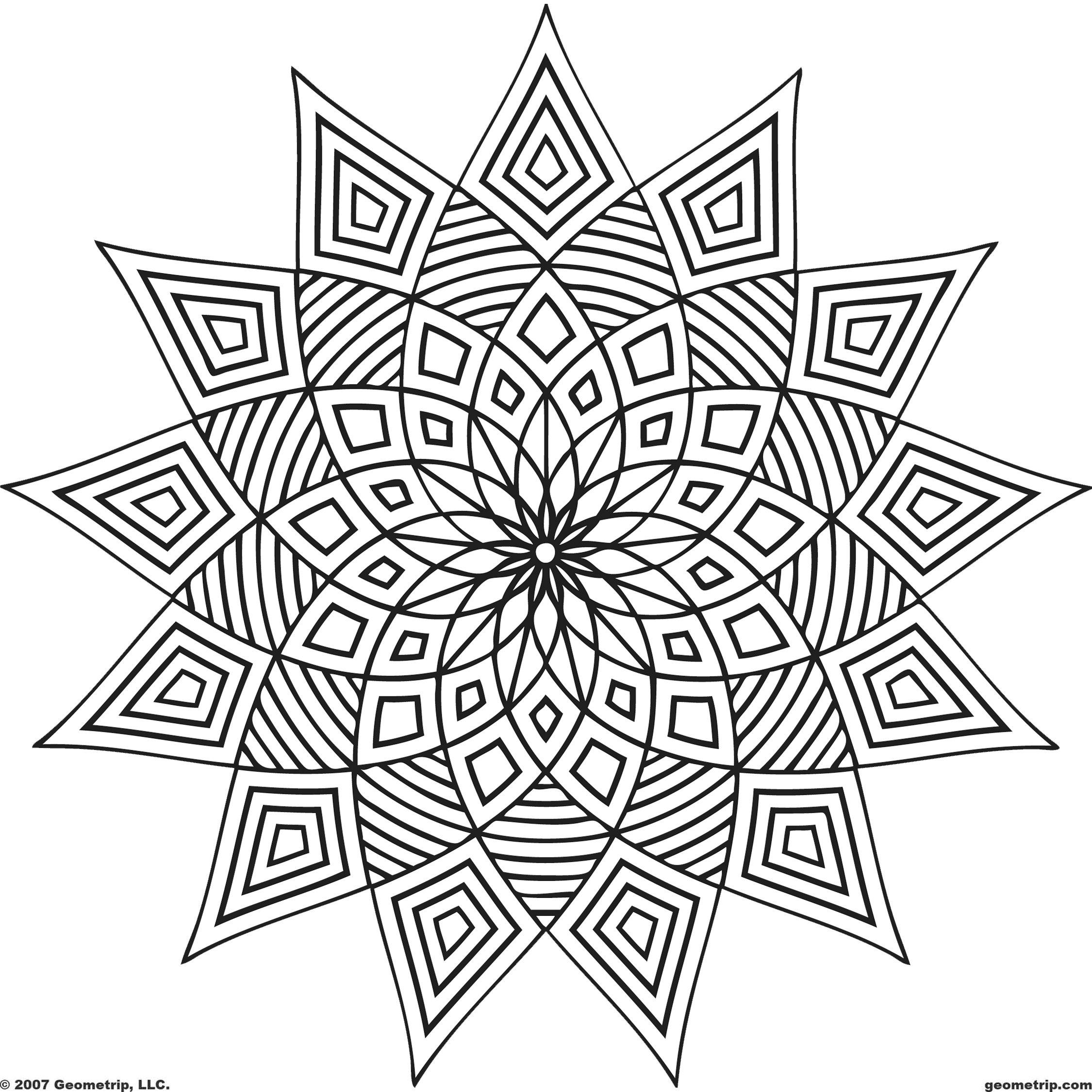 6 Images of Geometric Printable Coloring Pages