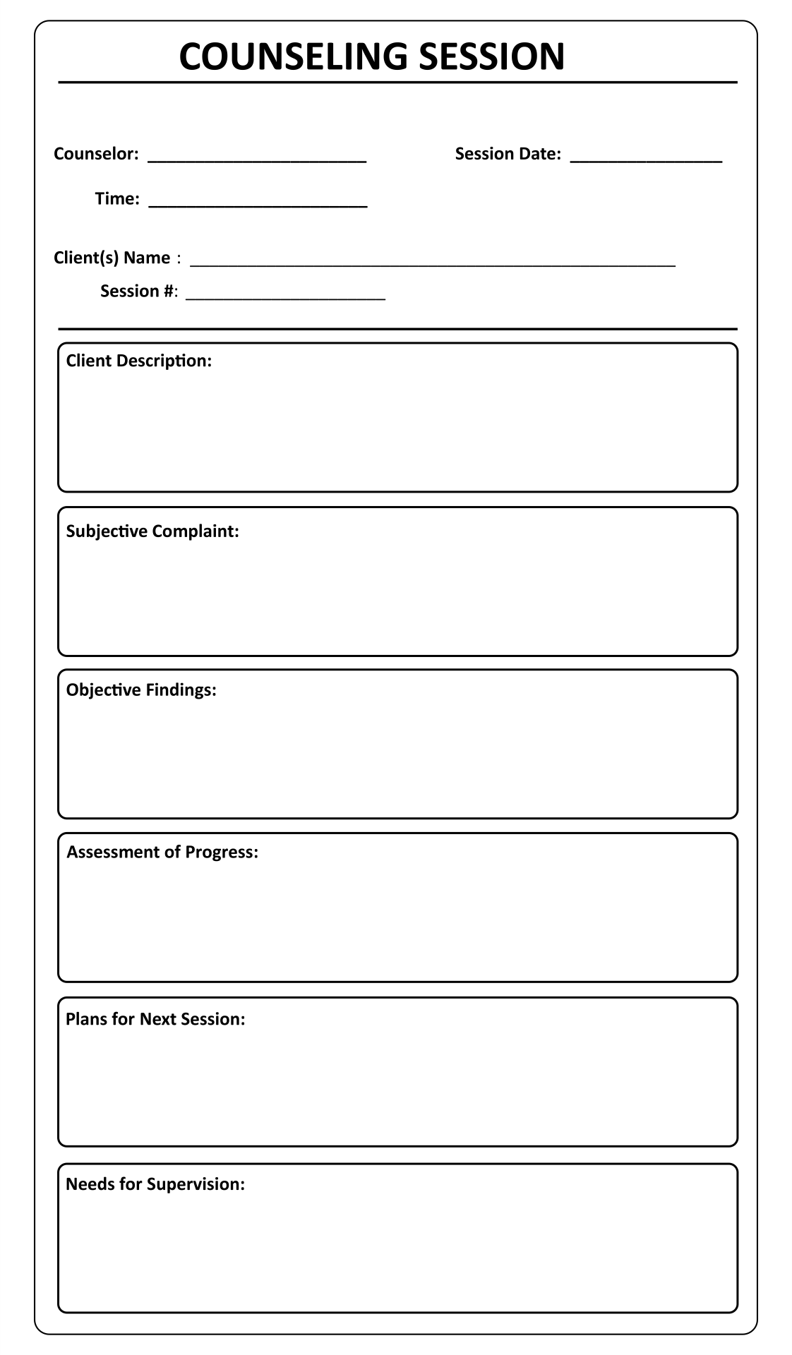 7 best images of printable counseling soap note templates for Counseling memo template