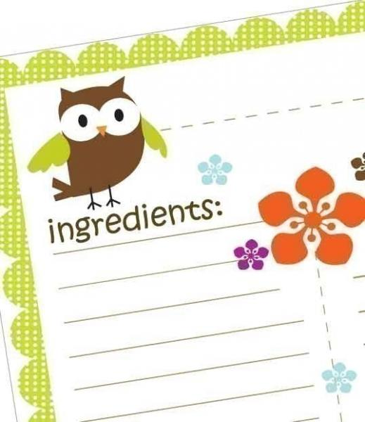 4 Best Images of Printable Owl Recipe Cards - Printable ...