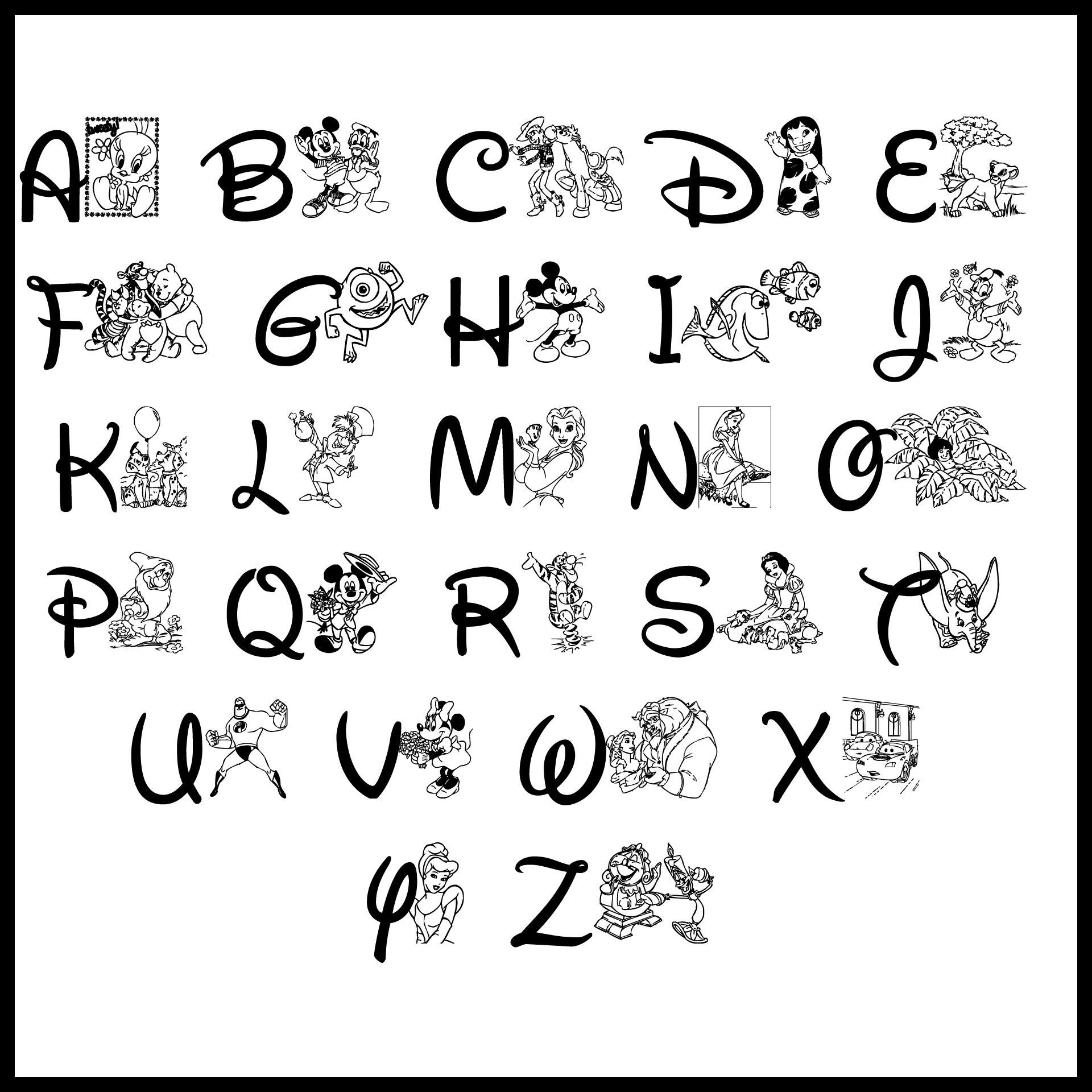 Disney Character Alphabet Letters