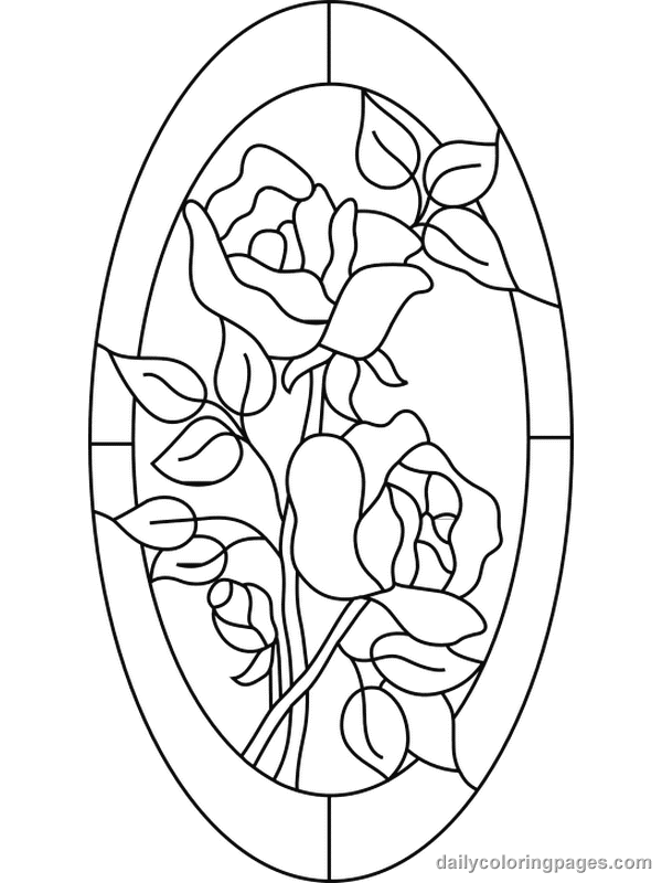 Flower Stained Glass Coloring Pages
