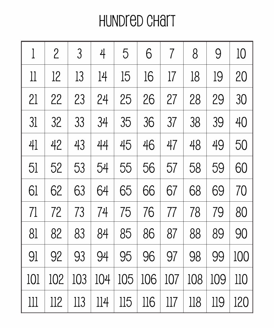 6 Images of 100 Chart Full Page Printable