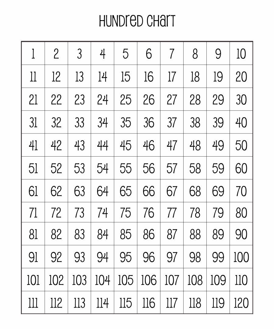 100 Chart Full Page Printable