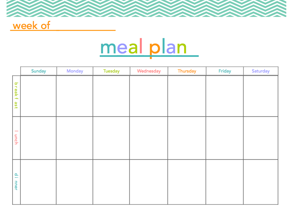 5 Images of Free Printable Blank Meal Plan Chart