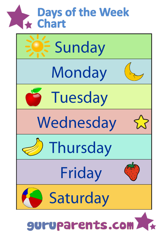 6 Images of Days Of The Week Printables For Kindergarten
