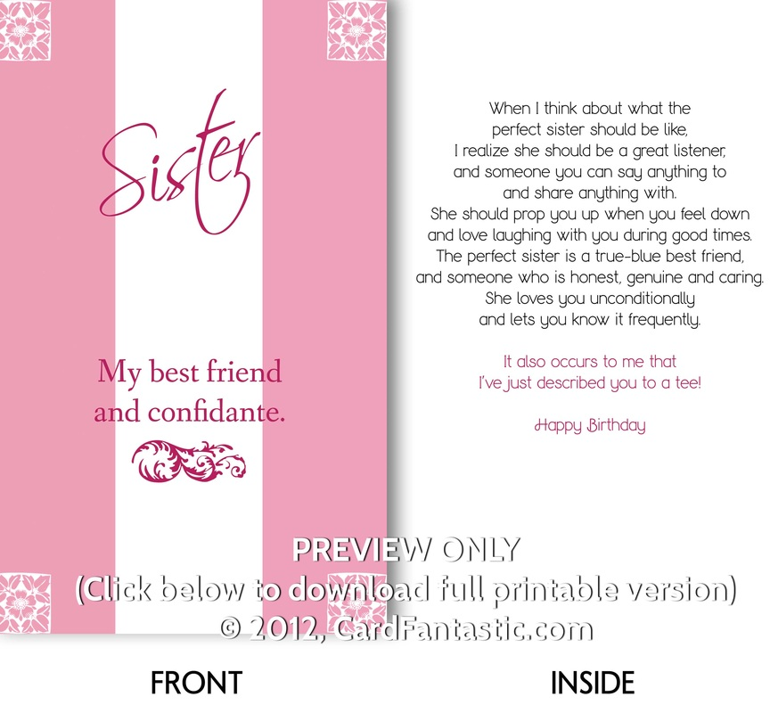 Printable Birthday Cards For My Sister Cute Birthday Gift – Sister Birthday Cards Printable