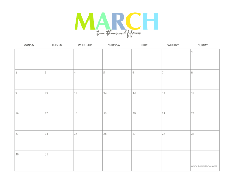 Free Printable Monthly Calendars March 2015