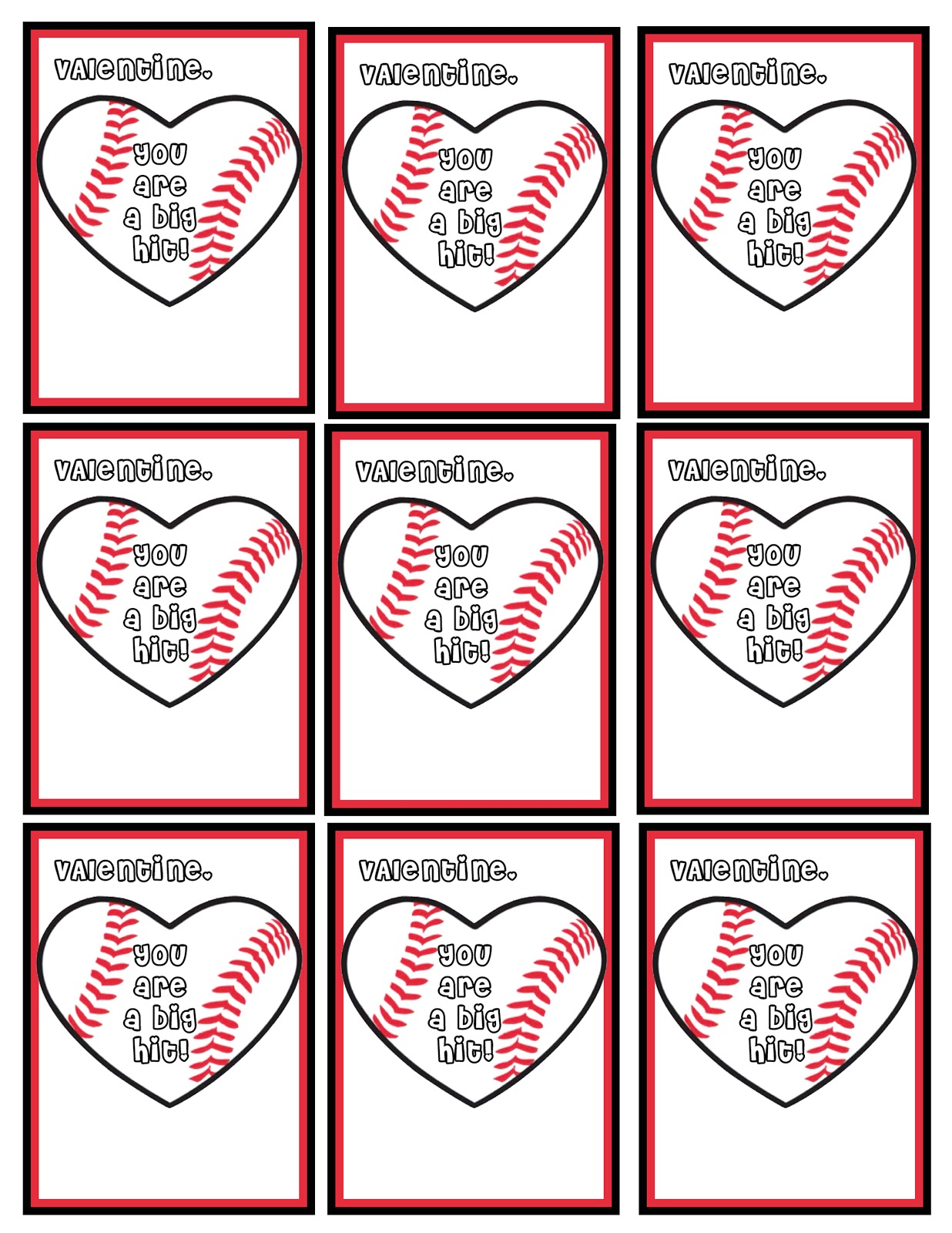 5 Images of Baseball Printable Valentine Cards
