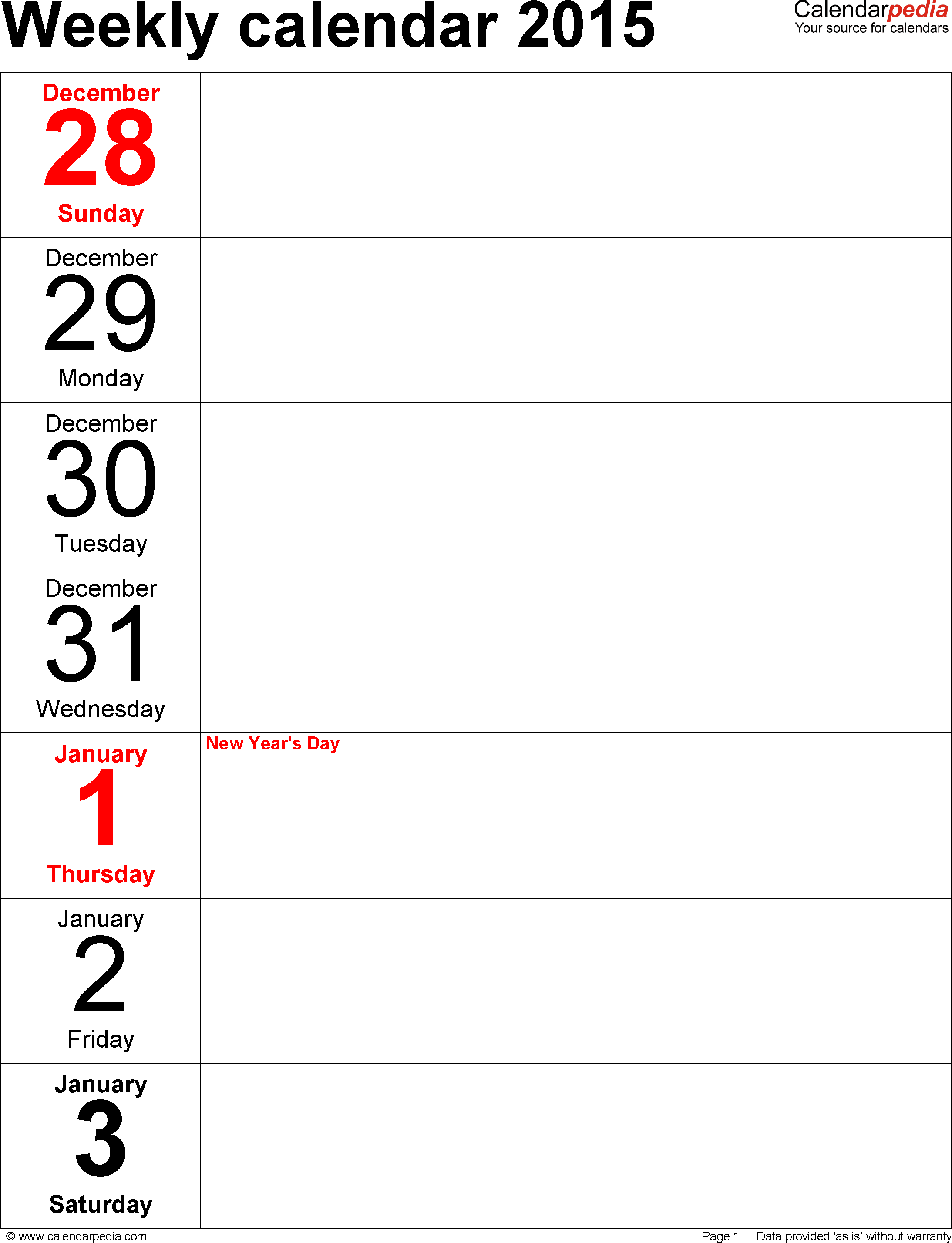 7 Images of Weekly Planner Free Printable 2015 Calendar Portrait